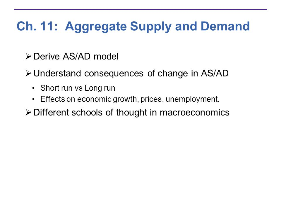 Ch. 11: Aggregate Supply and Demand