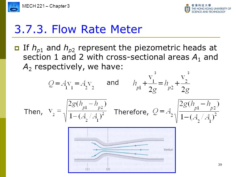 Flow Rate Meter If hp1 and hp2 represent the piezometric heads at section 1 and 2 with cross-sectional areas A1 and A2 respectively, we have: