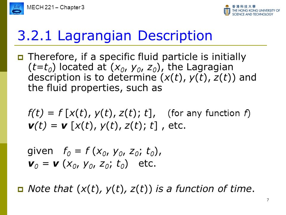 3.2.1 Lagrangian Description