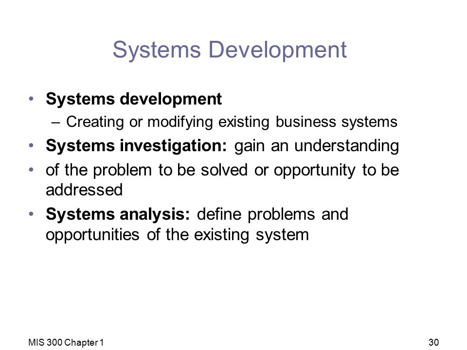 Systems Development Systems development