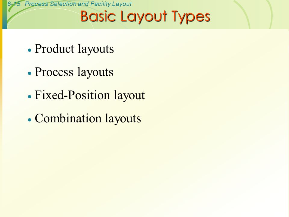 Basic Layout Types Product layouts Process layouts