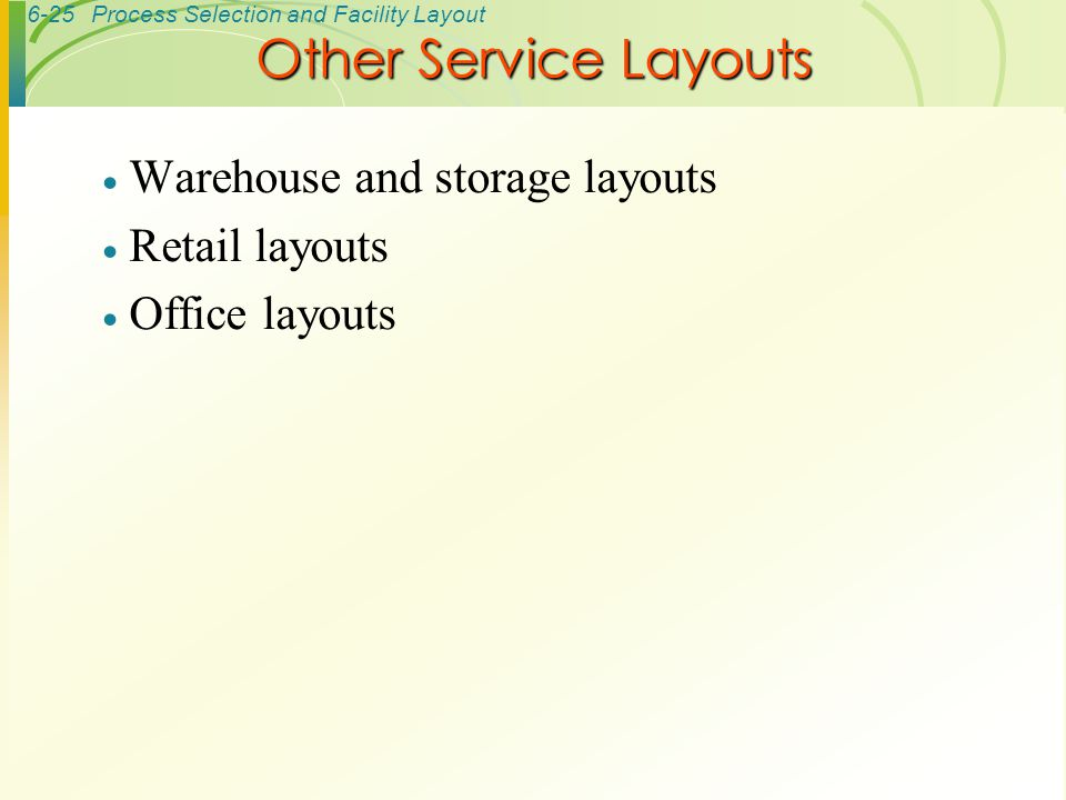 Other Service Layouts Warehouse and storage layouts Retail layouts