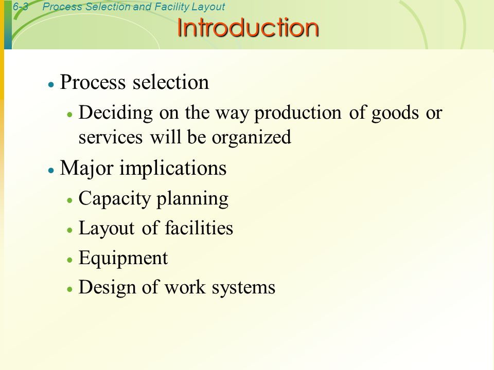Introduction Process selection Major implications