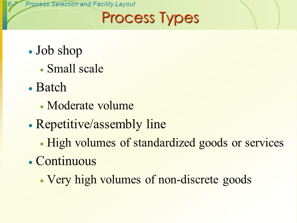 Process Types Job shop Batch Repetitive/assembly line Continuous