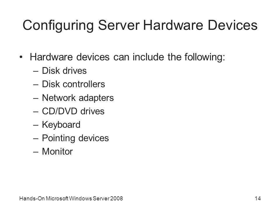 Configuring Server Hardware Devices