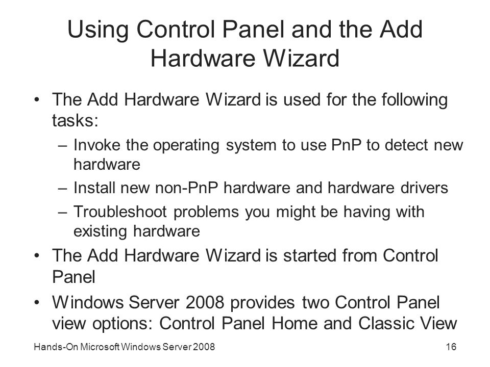 Using Control Panel and the Add Hardware Wizard