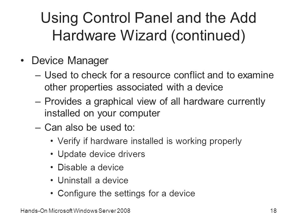 Using Control Panel and the Add Hardware Wizard (continued)