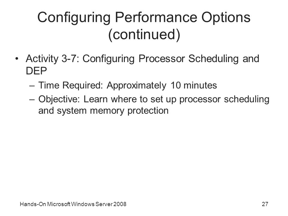 Configuring Performance Options (continued)
