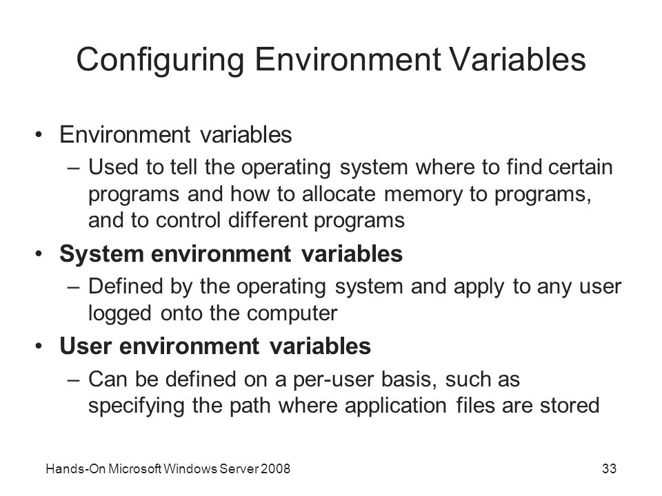 Configuring Environment Variables