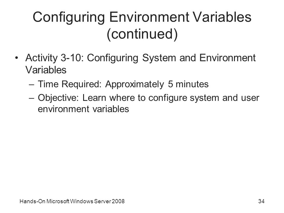 Configuring Environment Variables (continued)