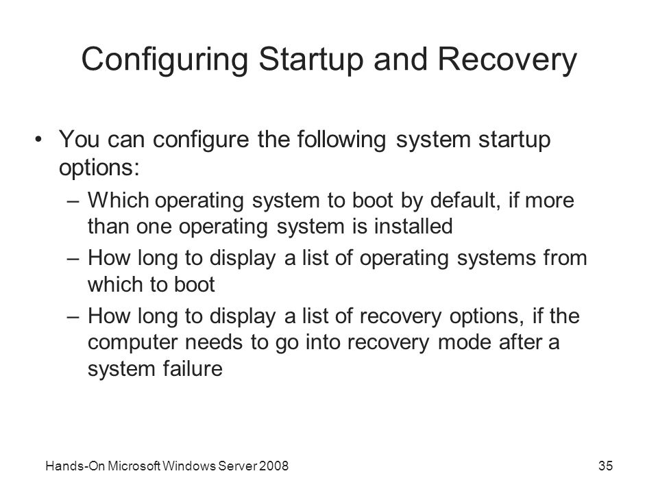 Configuring Startup and Recovery