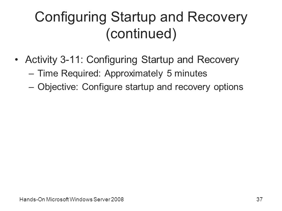 Configuring Startup and Recovery (continued)