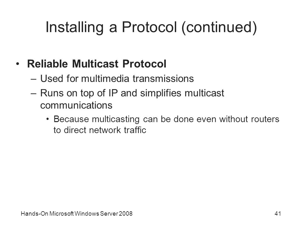 Installing a Protocol (continued)