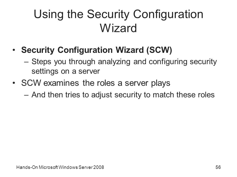 Using the Security Configuration Wizard