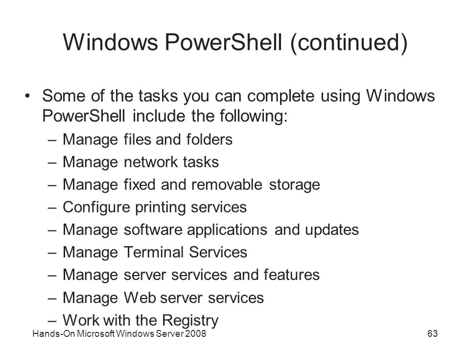 Windows PowerShell (continued)
