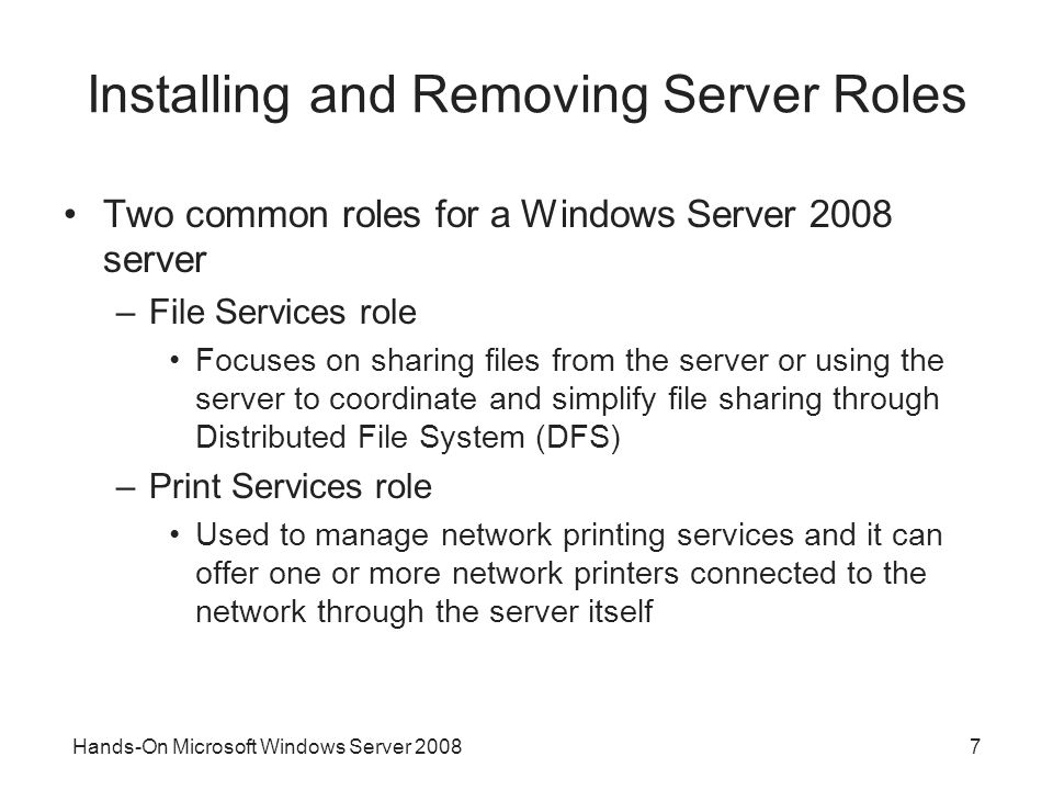 Installing and Removing Server Roles