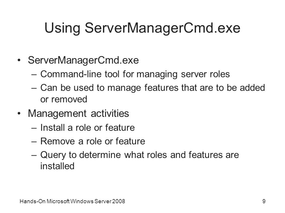 Using ServerManagerCmd.exe