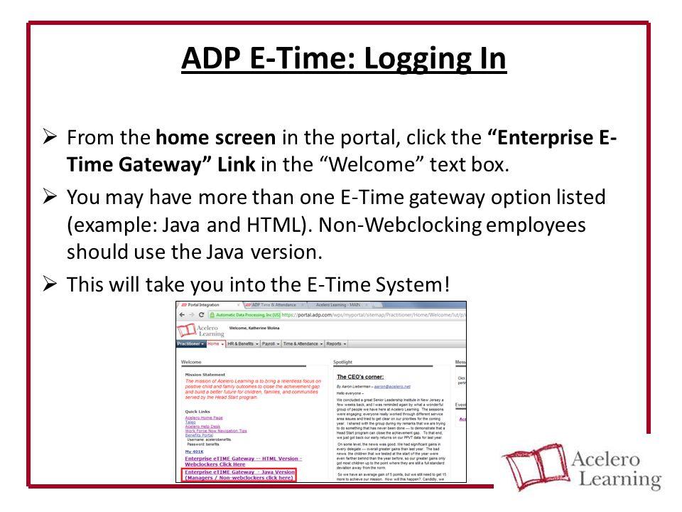ADP E-Time Basic User Tutorial Non-Webclocking Employee