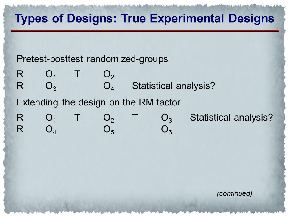 Types of Designs: True Experimental Designs