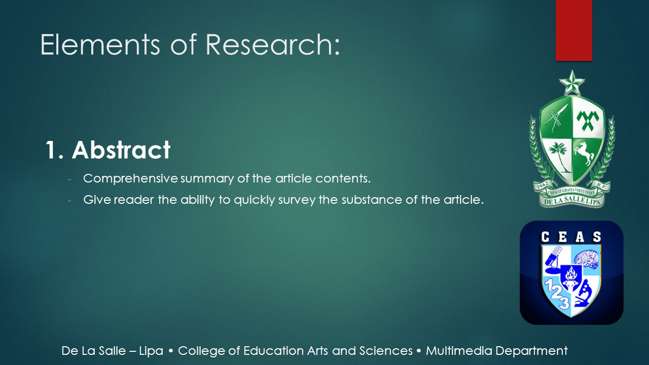Elements of Research: 1. Abstract