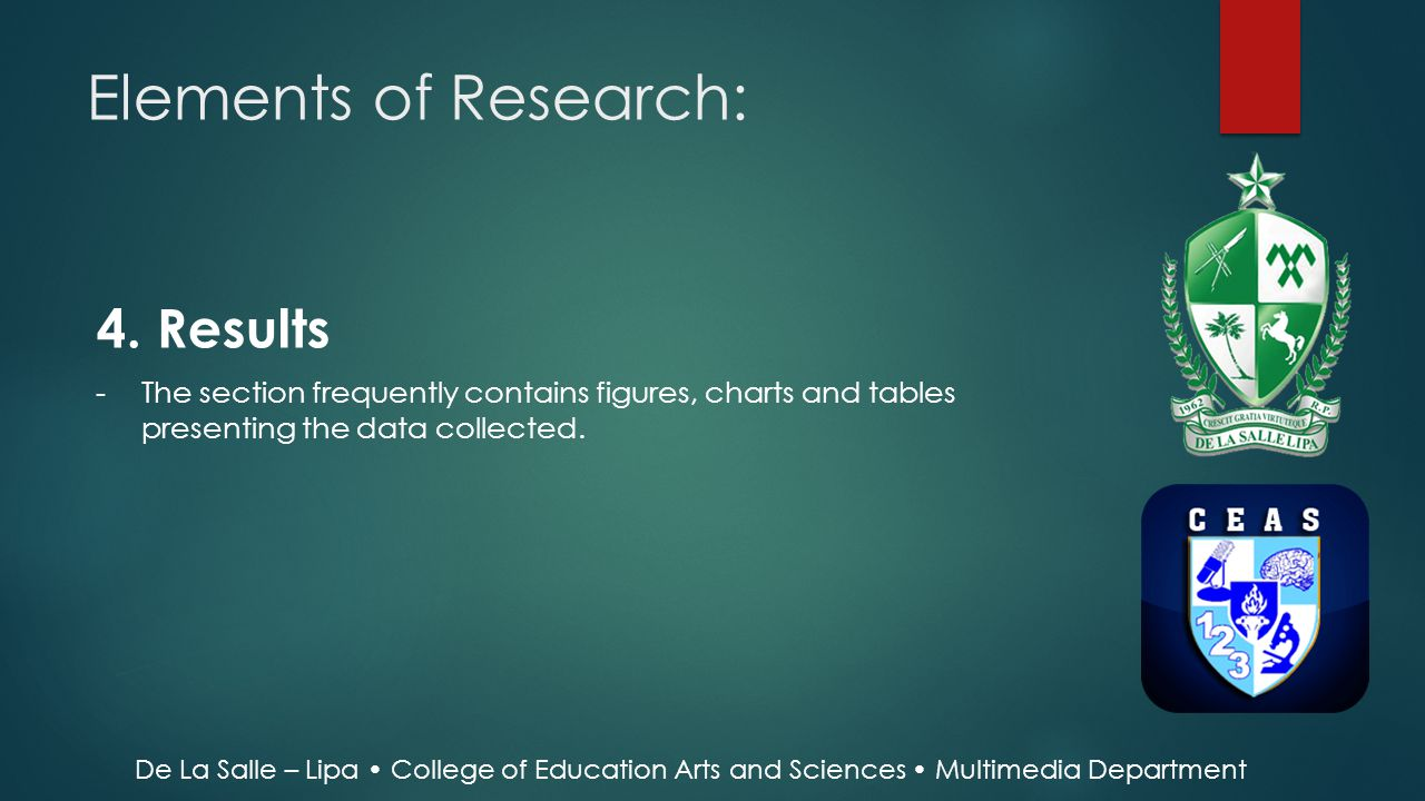 Elements of Research: 4. Results