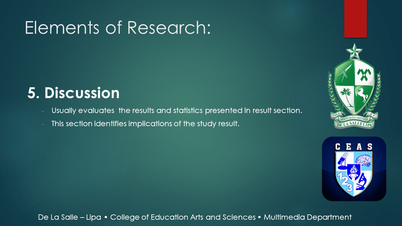 Elements of Research: 5. Discussion
