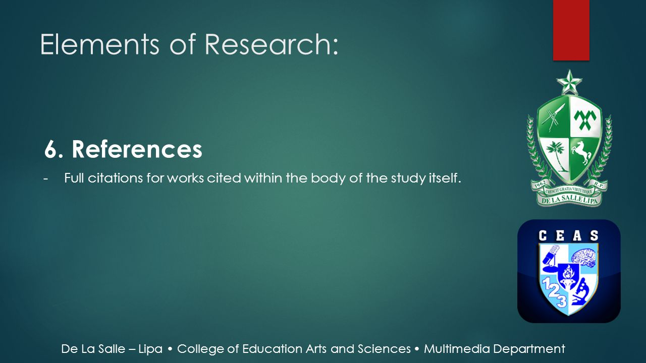 Elements of Research: 6. References