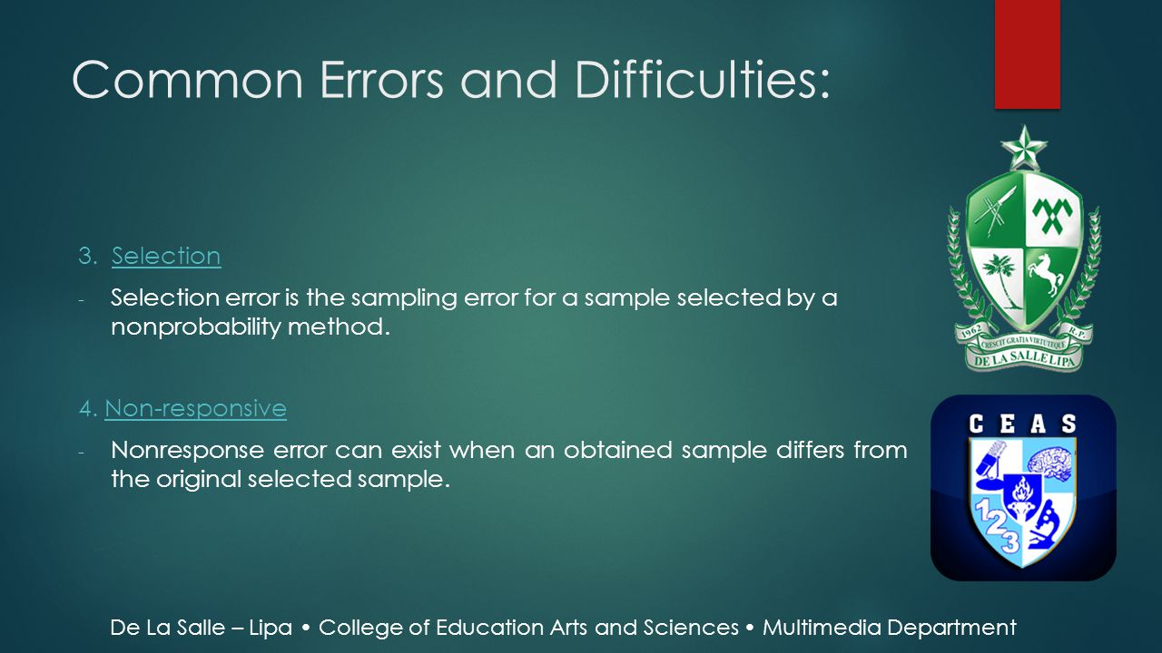 Common Errors and Difficulties: