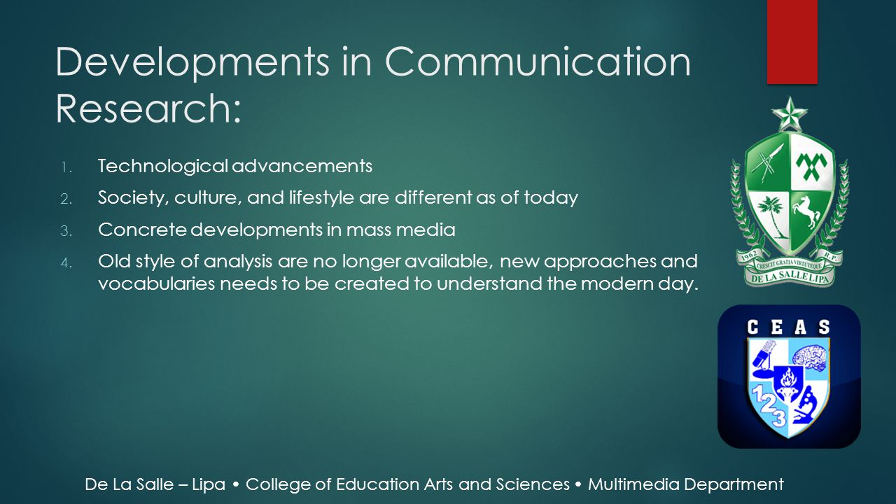Developments in Communication Research: