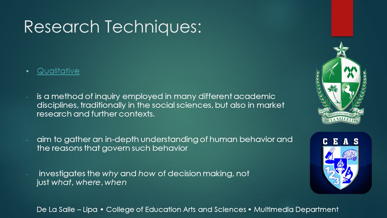 Research Techniques: Qualitative