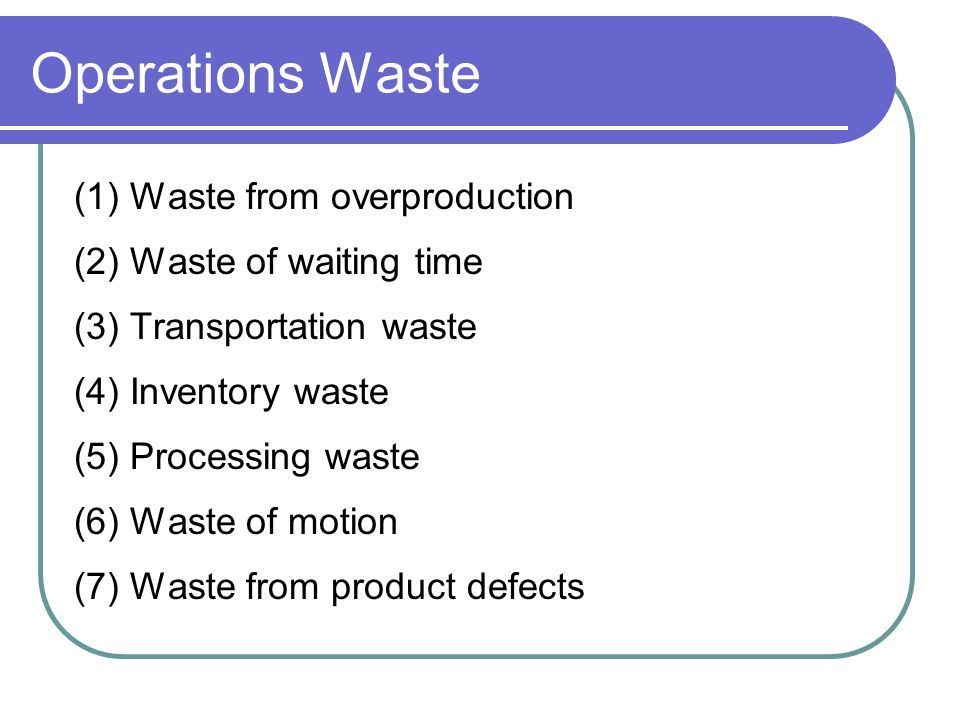 Operations Waste (1) Waste from overproduction