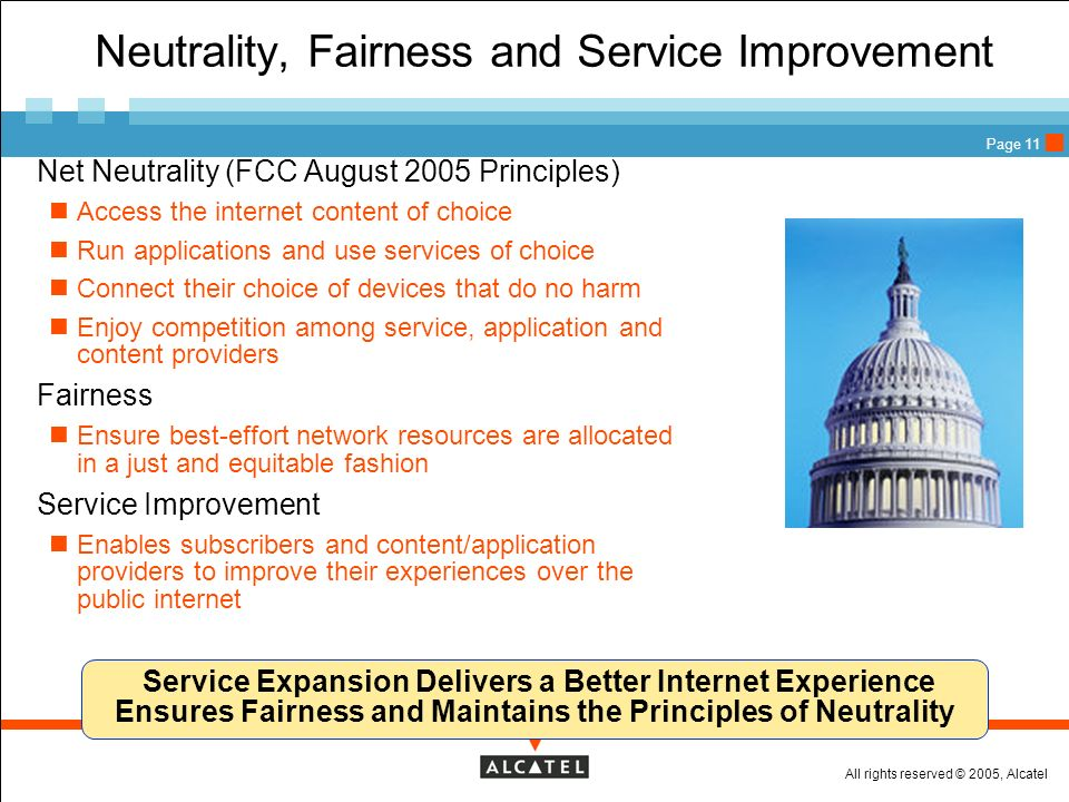 Neutrality, Fairness and Service Improvement