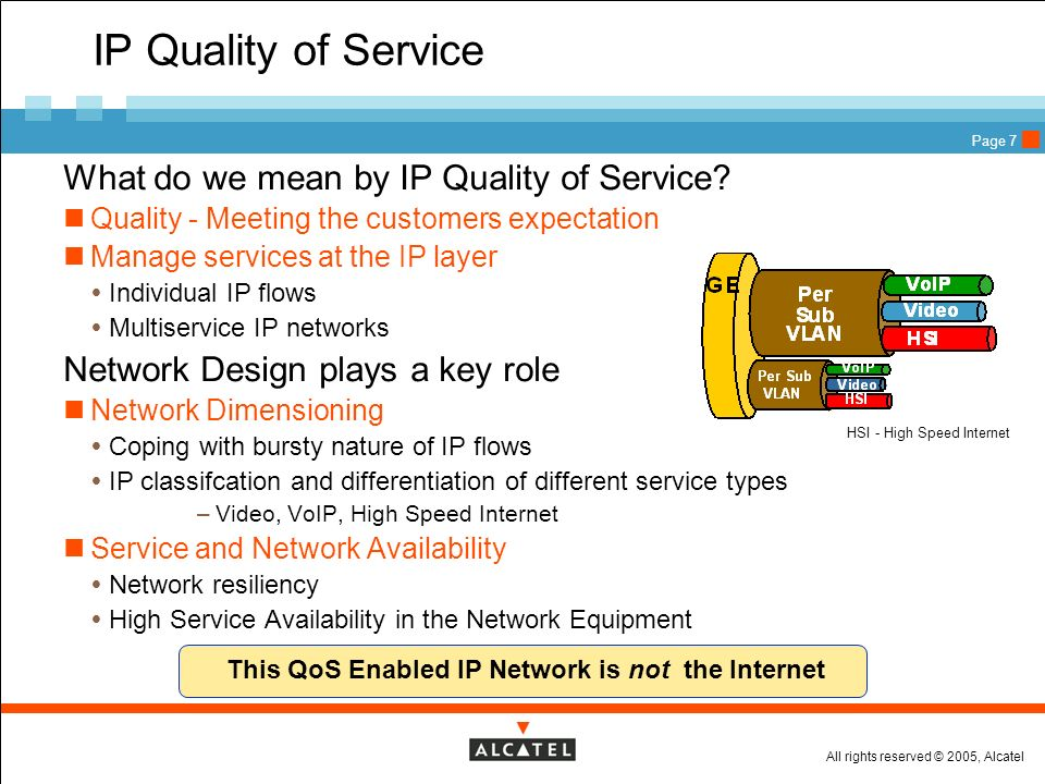 This QoS Enabled IP Network is not the Internet