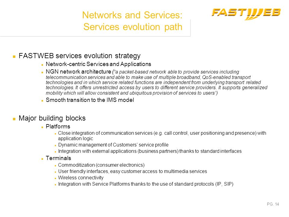 Networks and Services: Services evolution path