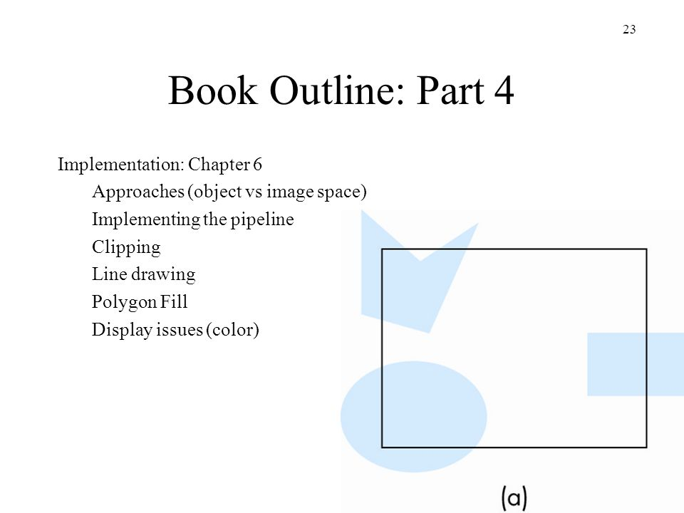 Book Outline: Part 4 Implementation: Chapter 6