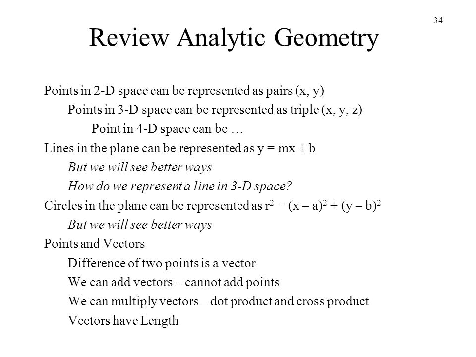 Review Analytic Geometry