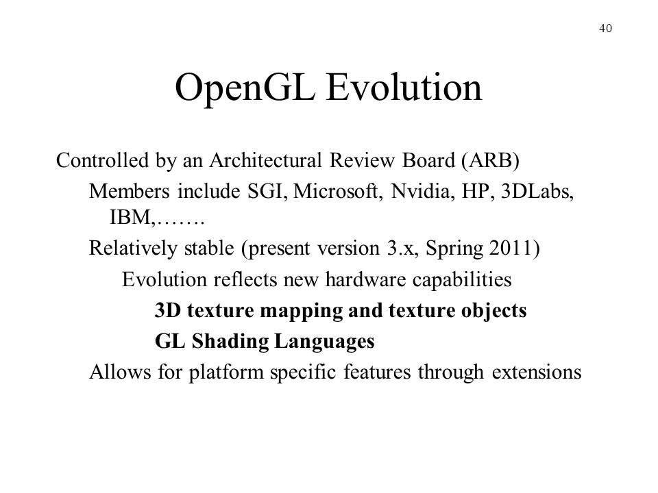 OpenGL Evolution Controlled by an Architectural Review Board (ARB)