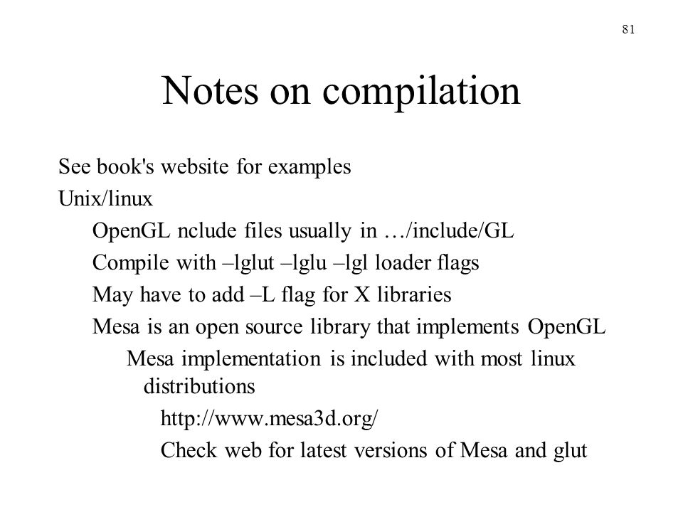 Notes on compilation See book s website for examples Unix/linux