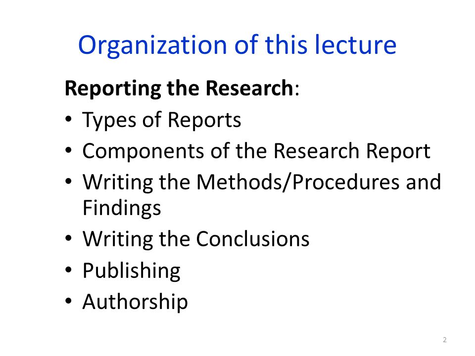 types of research report writing
