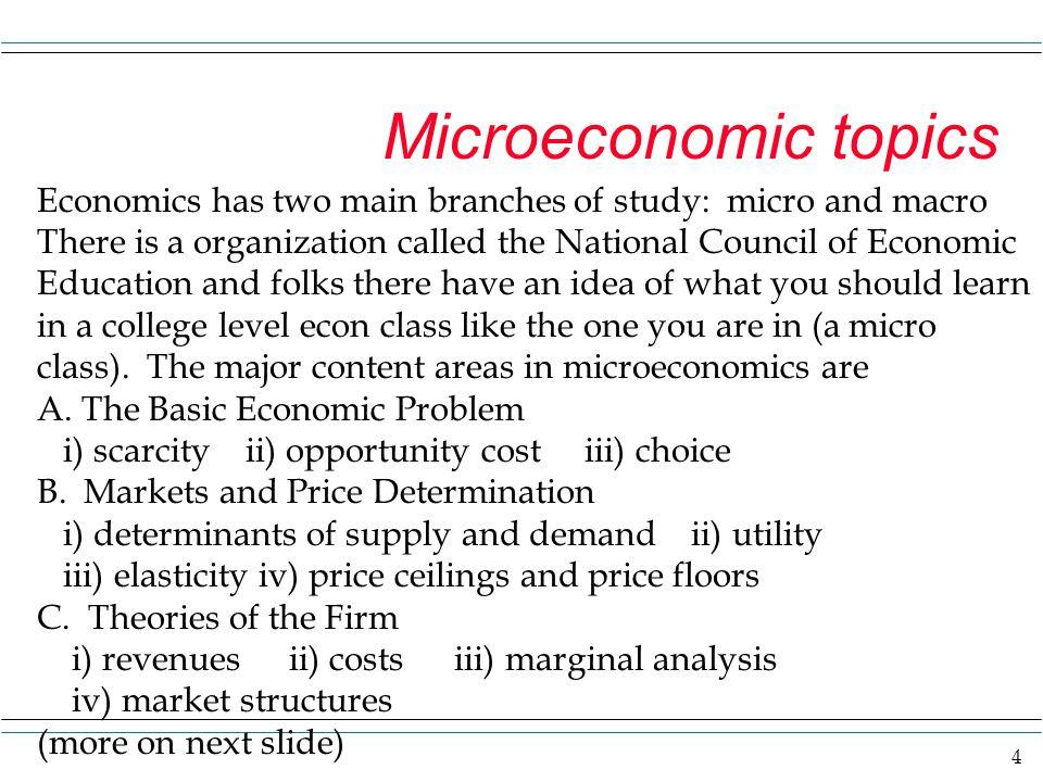 micro economic topics