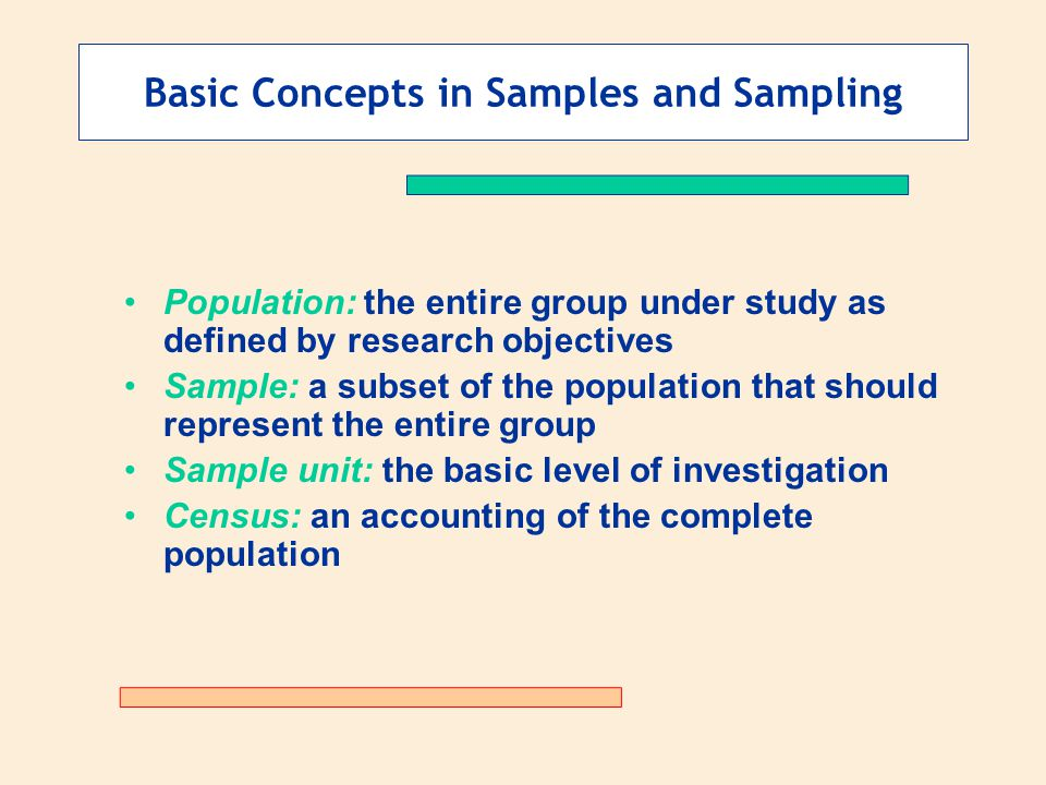 Basic Concepts in Samples and Sampling