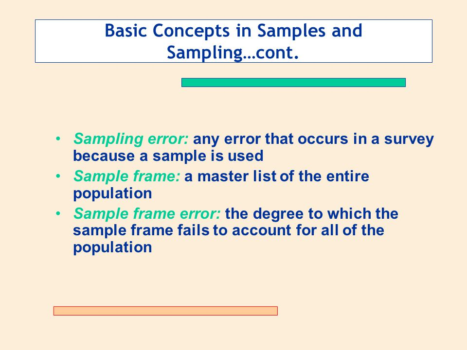 Basic Concepts in Samples and Sampling…cont.