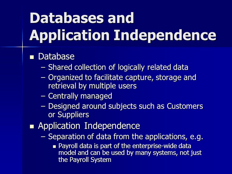 Databases and Application Independence