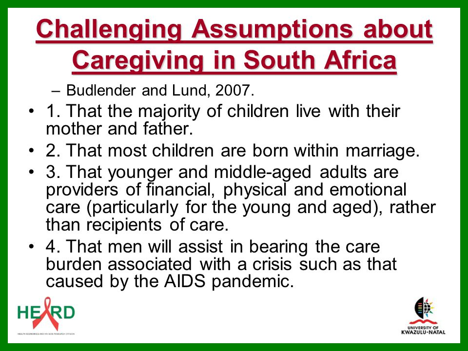Challenging Assumptions about Caregiving in South Africa