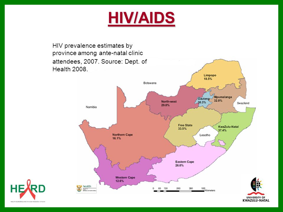 HIV/AIDS HIV prevalence estimates by province among ante-natal clinic attendees, Source: Dept. of Health