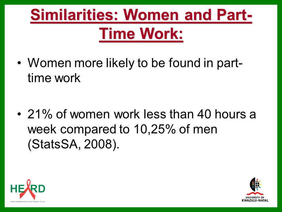 Similarities: Women and Part-Time Work: