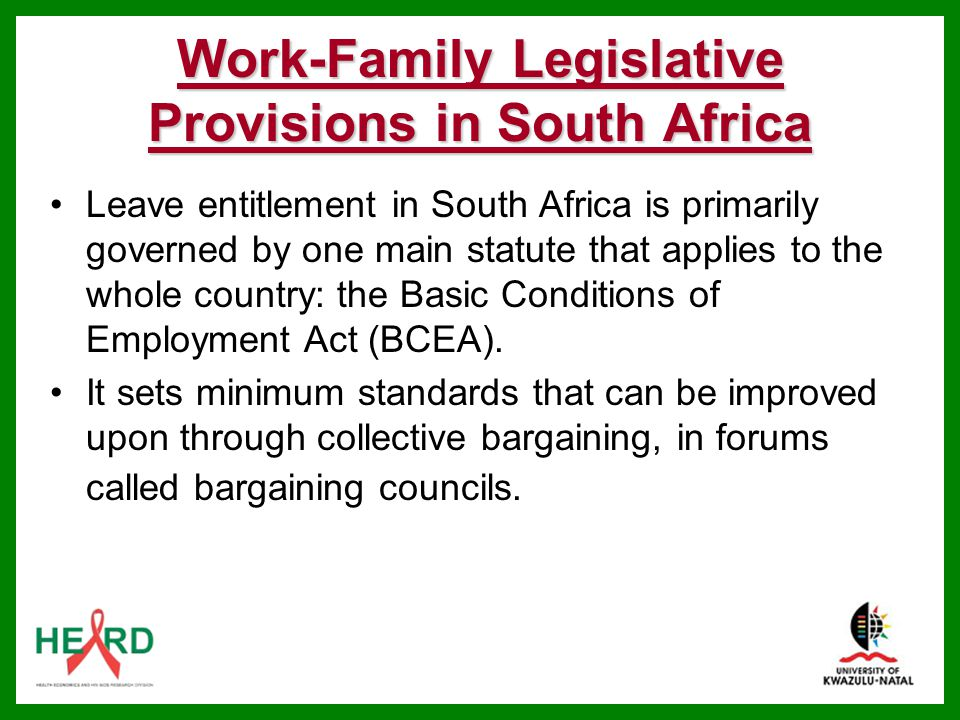 Work-Family Legislative Provisions in South Africa