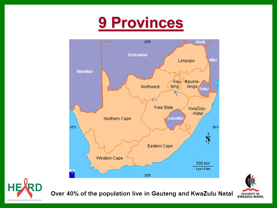 Over 40% of the population live in Gauteng and KwaZulu Natal
