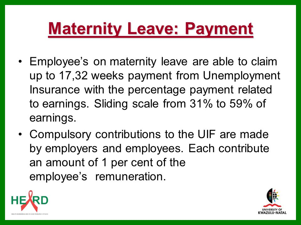 Maternity Leave: Payment
