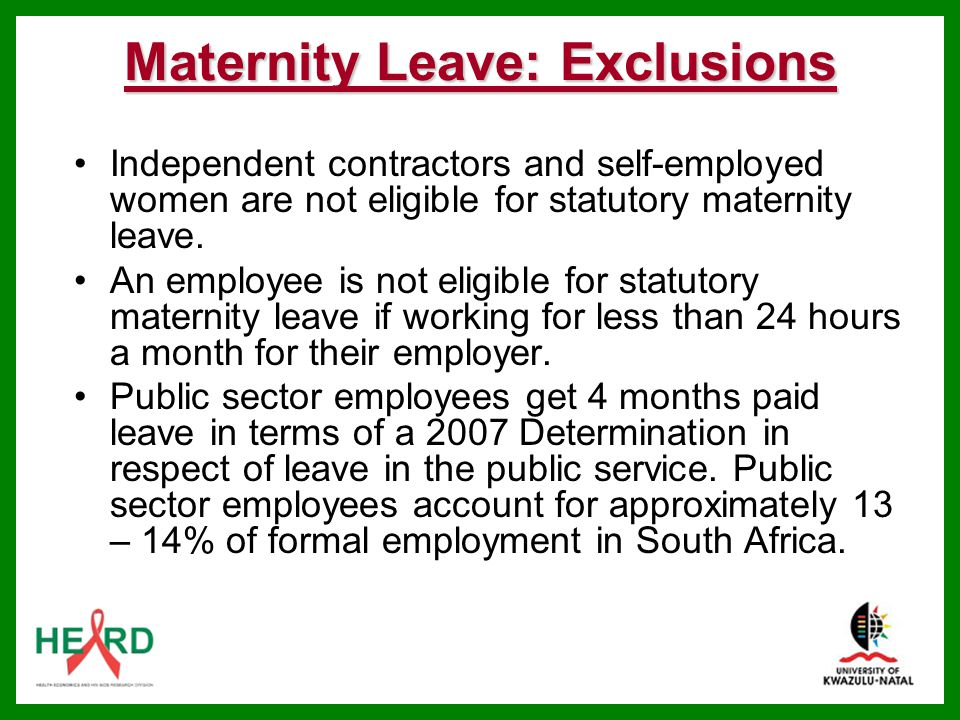Maternity Leave: Exclusions